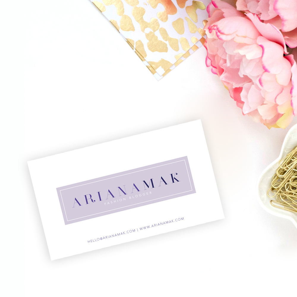 Lavender fashion blogger modern chic feminine ready to order business card