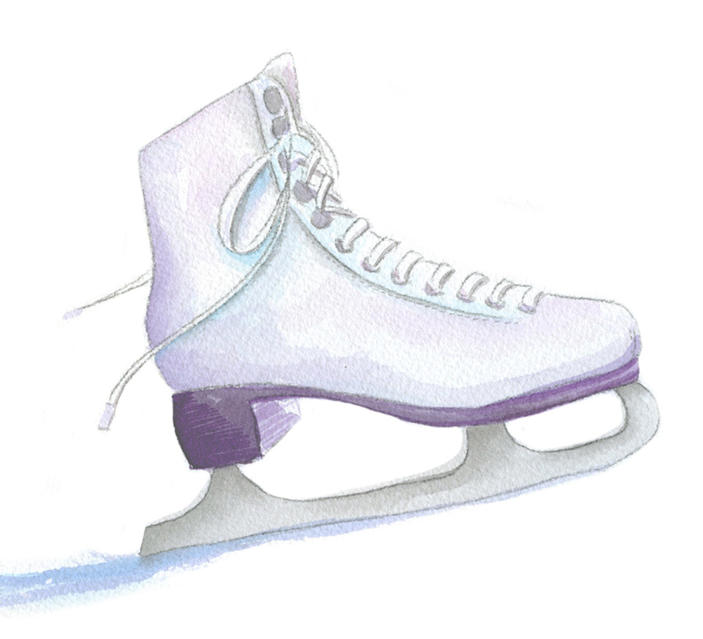 purple and pink watercolor ice skate custom illustration by Catherine Kiff-Vozza, Couture Stationer