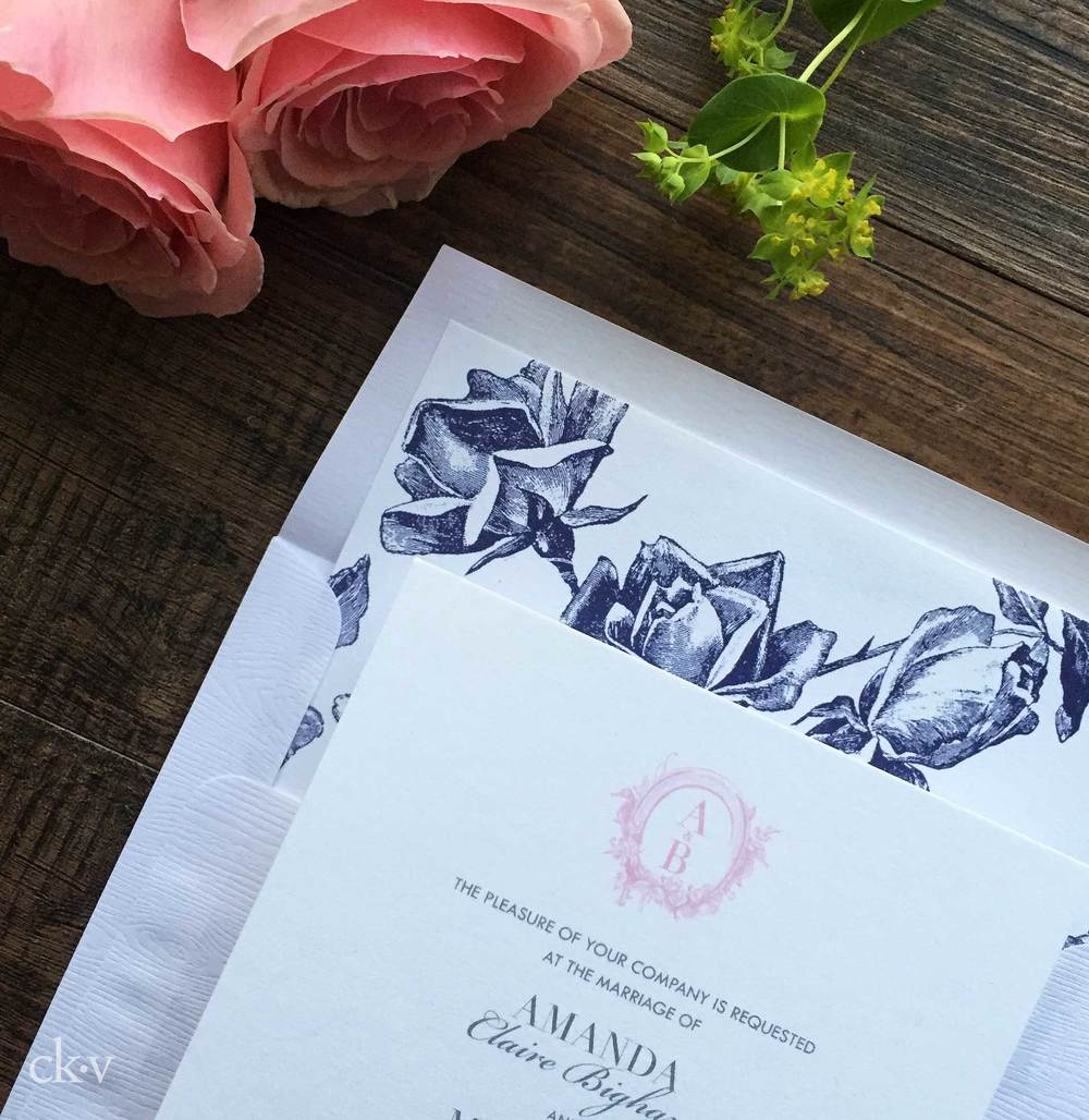 Rustic Elegant floral equestrian wedding invitation suite with roses and wood grain envelopes by Catherine Kiff-Vozza, Couture Stationer
