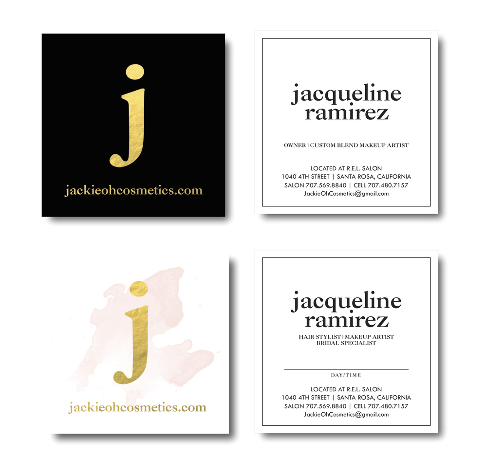 Water color and gold foil custom business card designs