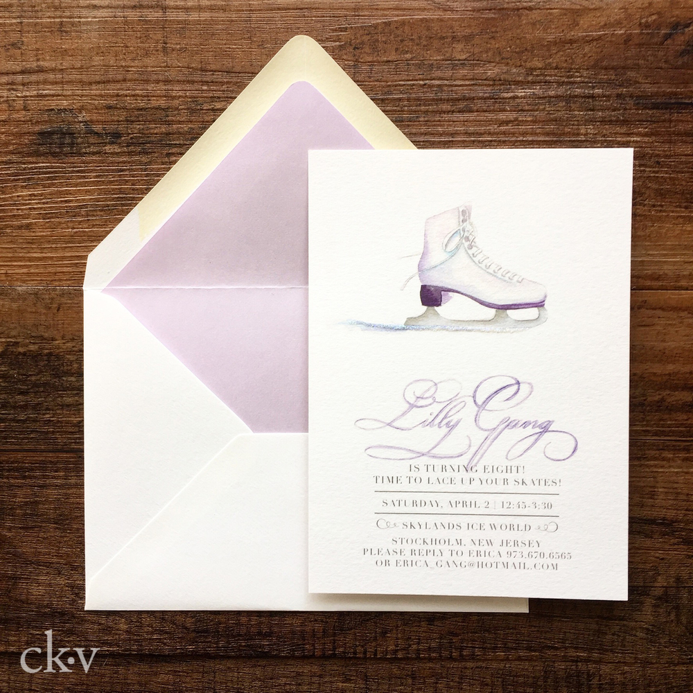 Ice Skating party invitation with glitter and custom illustration
