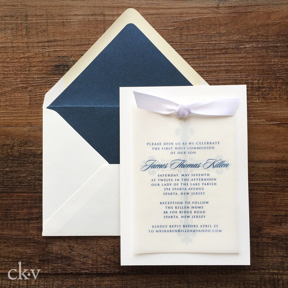Boy's first communion invitaiton with vellum, ribbon and cross