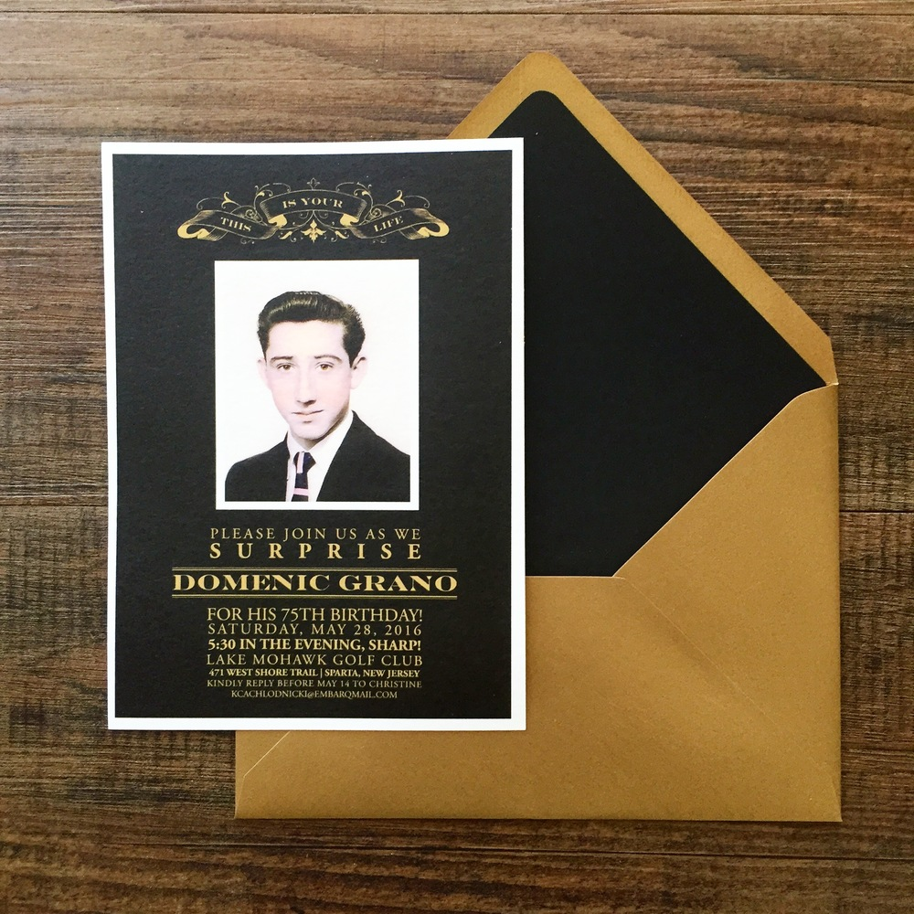 75TH BIRTHDAY PARTY INVITATIONS IN BLACK AND GOLD