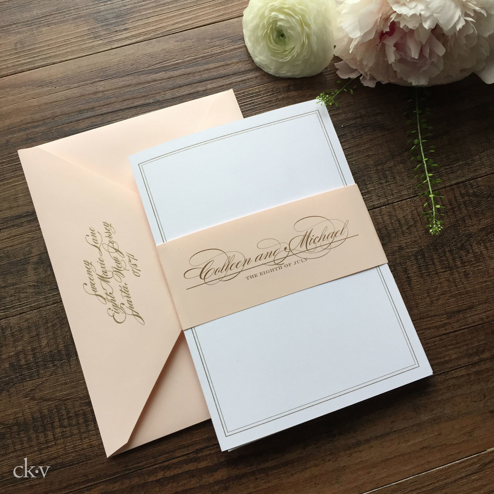 warm blush and gold wedding invitations
