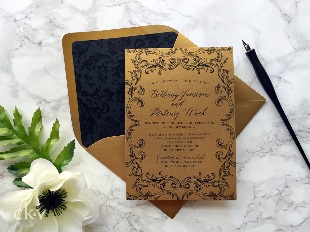 Formal ornate italian gold and black wedding invitation suite with damask pattern