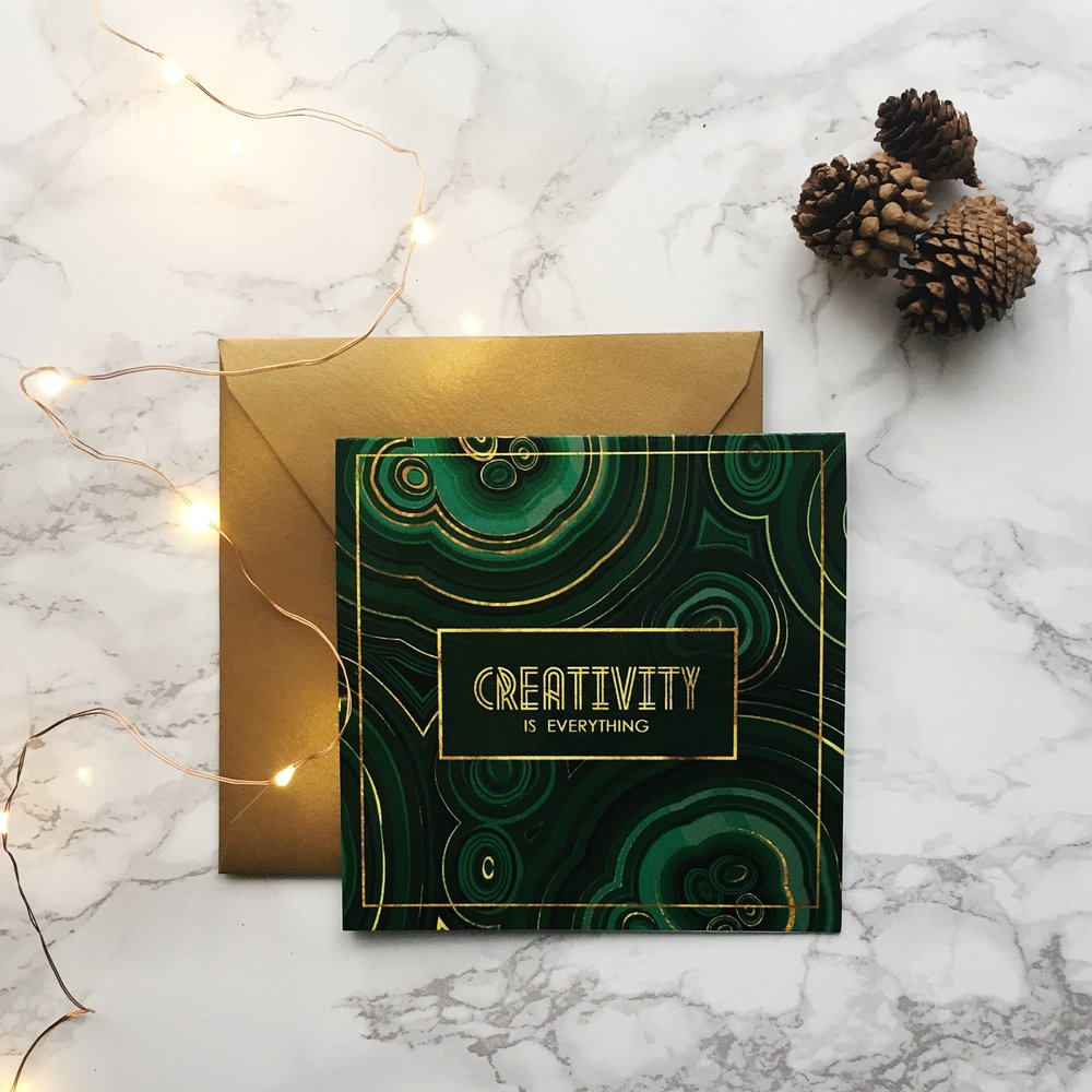 malachite vintage inspired gold holiday card
