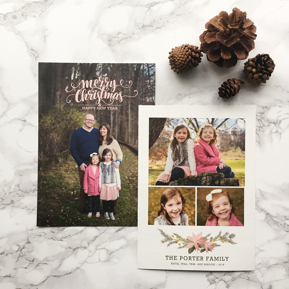 rustic pink and green family holiday card