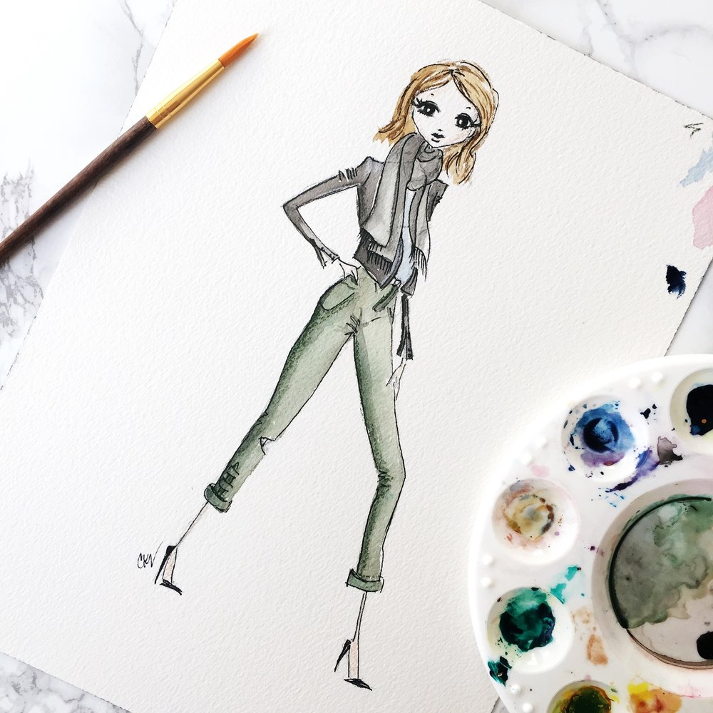 fashion blogger's watercolor portrait