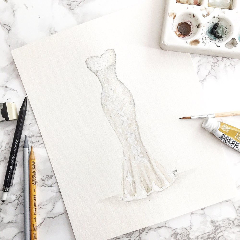 custom watercolor wedding dress portrait