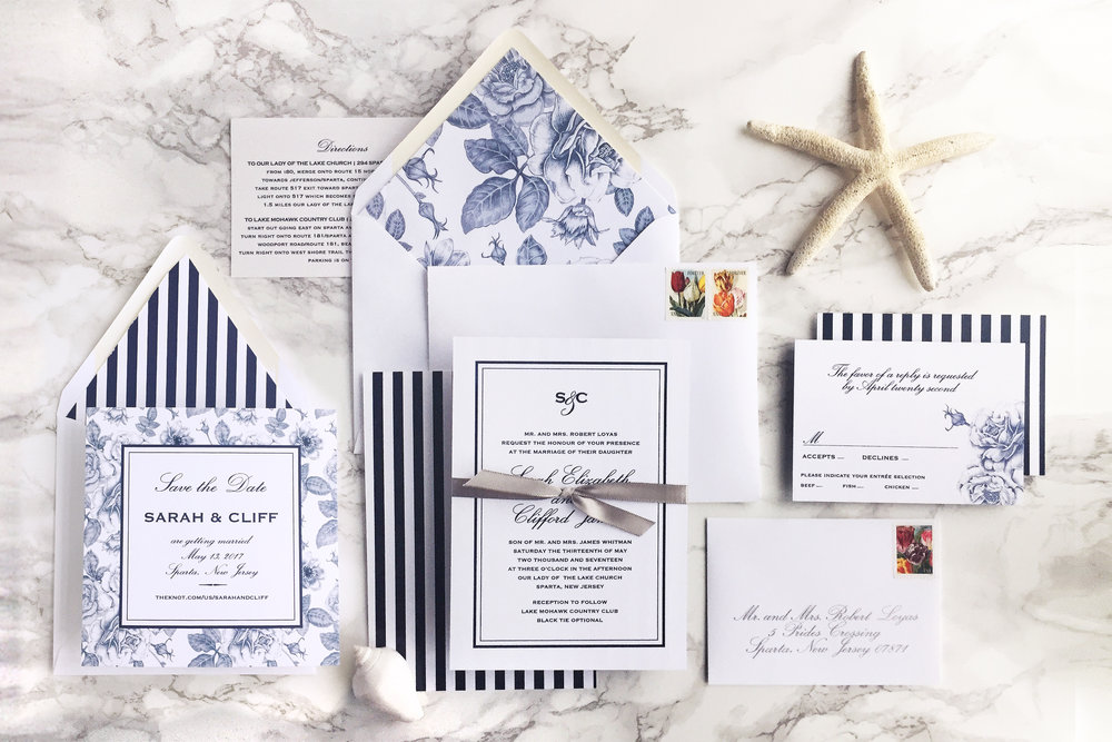 Elegant nautical navy blue floral striped wedding invitation with silver accent