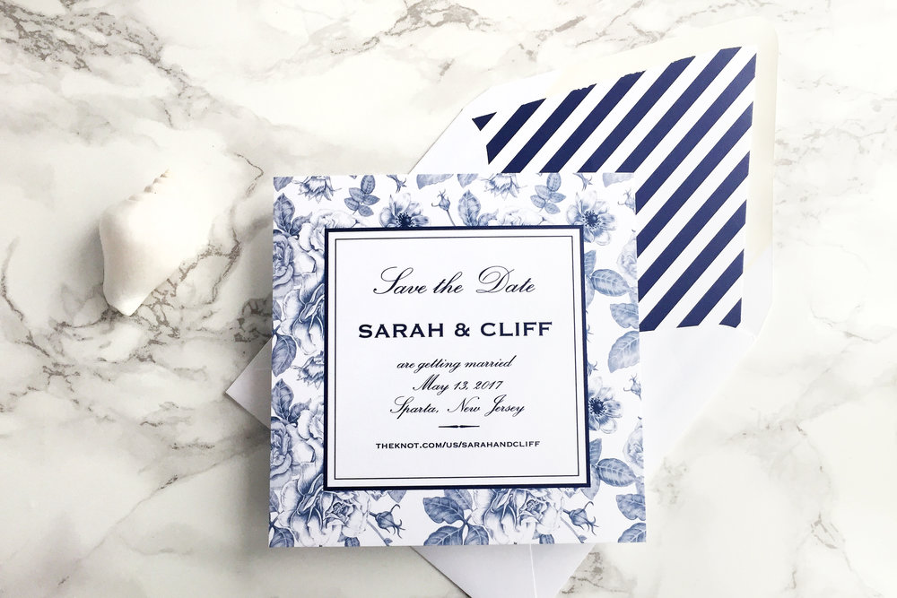 Elegant nautical navy blue floral striped wedding invitation with silver accent  Save the date
