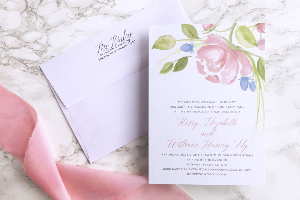 Watercolor peony and thistle wedding invitation with wood grain envelopes and wax seal