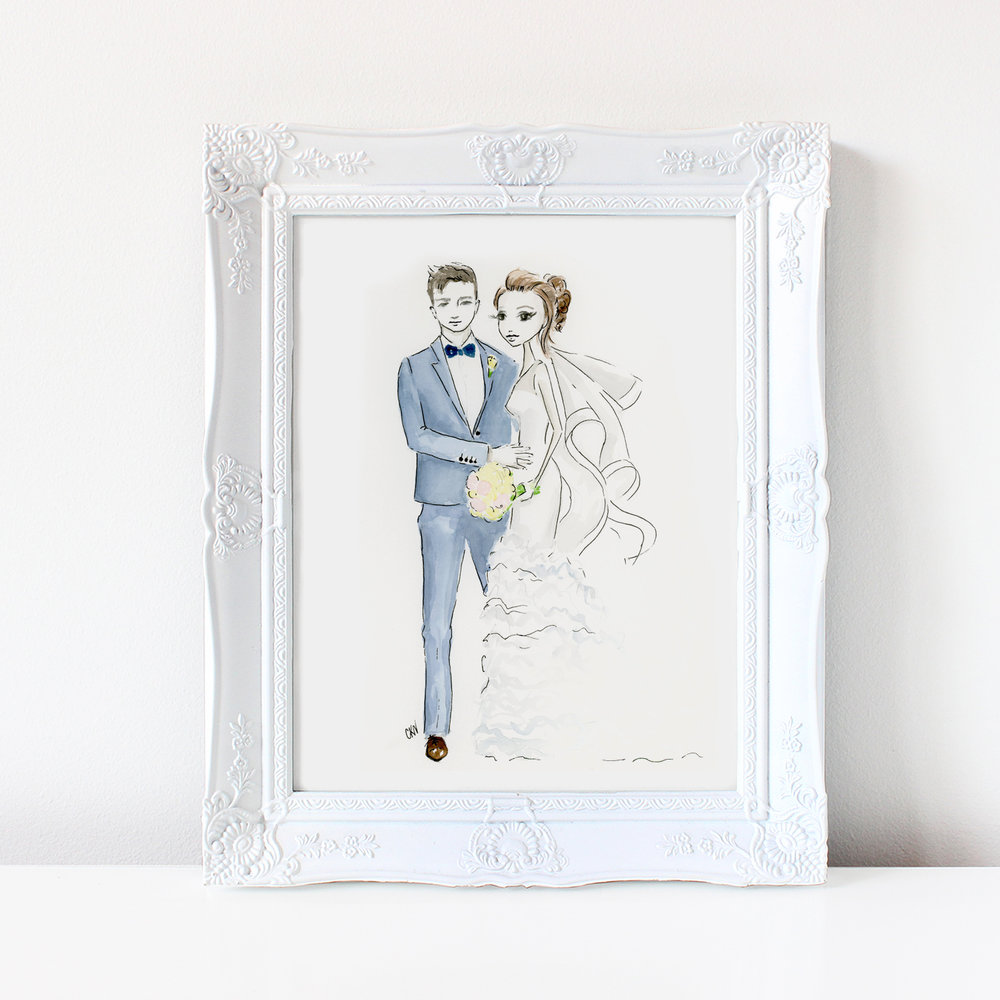 custom watercolor wedding portraits
