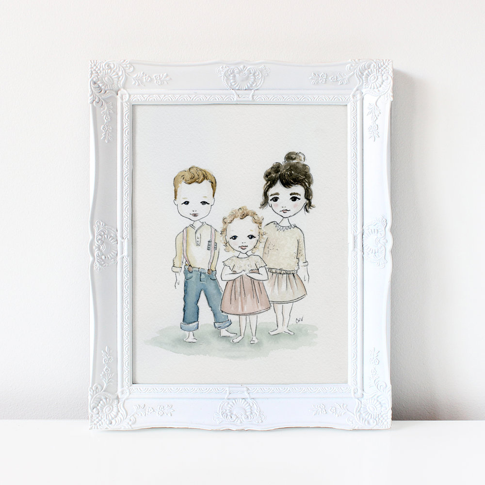 custom family watercolor illustrations