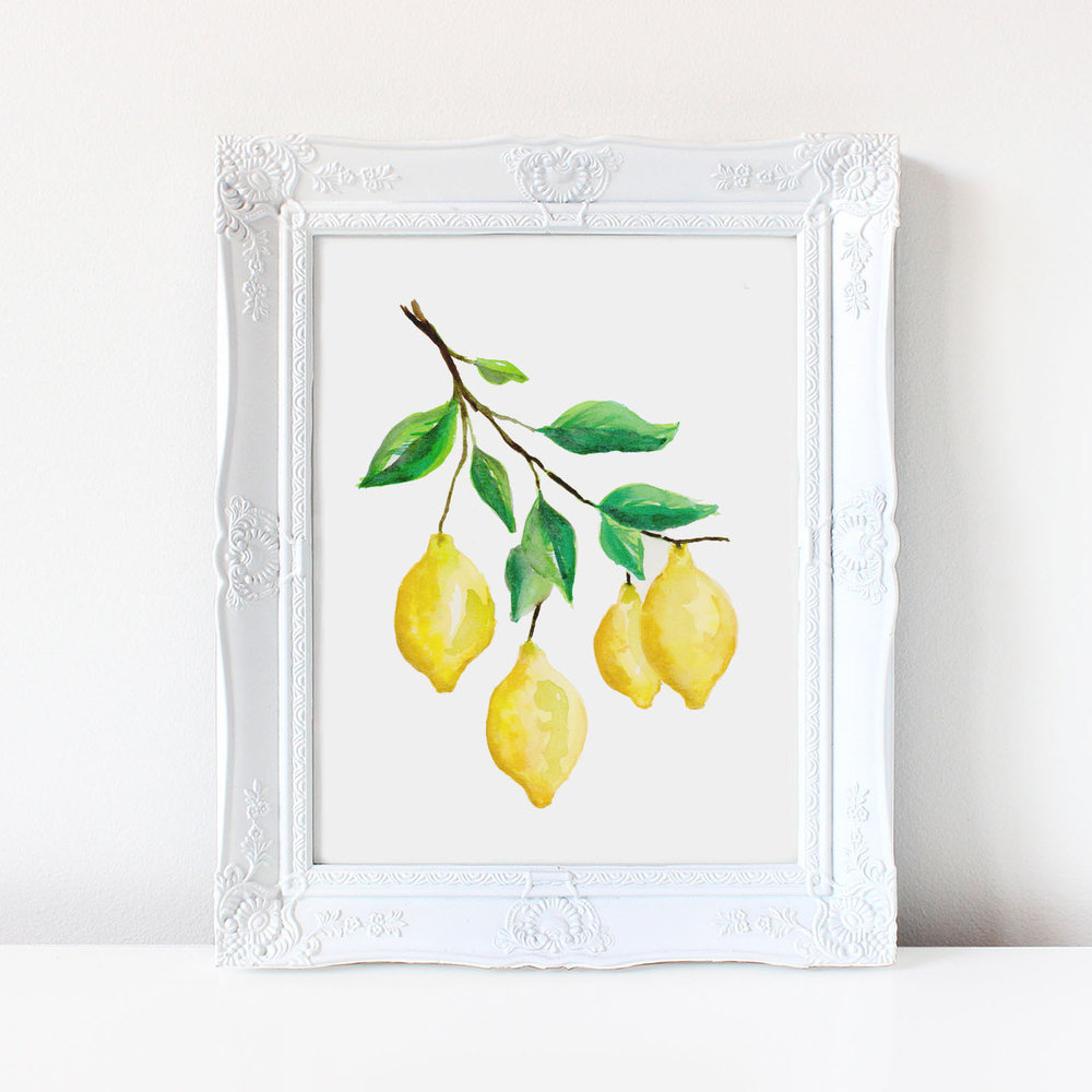 watercolor lemons print