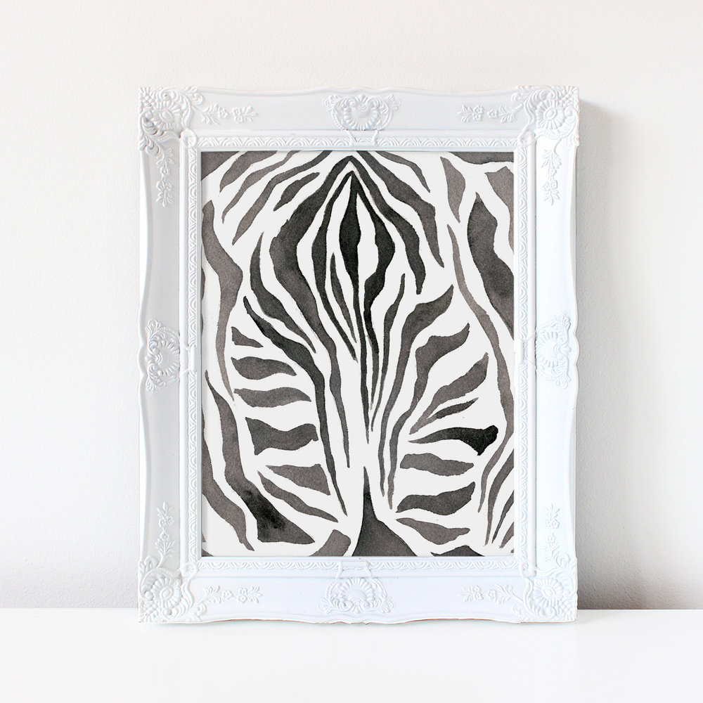 watercolor zebra print painting