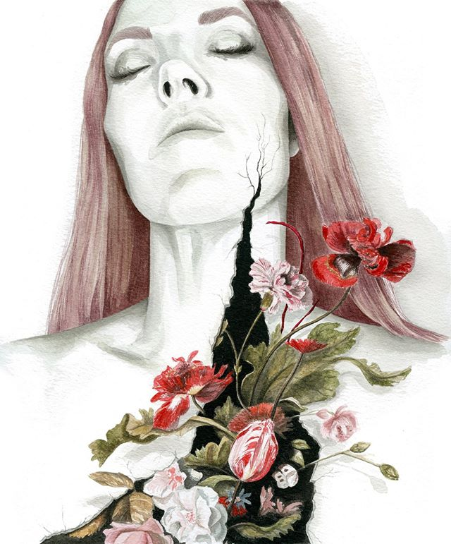"She's all done...inspired by one my favorite moments in painting, Dutch florals...naturally the dark moody backgrounds with deep shadows and intense pops of color are what appeal to me most. And thanks to everyone who voted for pink hair on this one...only 2 people said they didn't love the idea of it. Do you think they'll change their mind now that she's complete? 🤷🏻‍♀️ Check out my story for the new piece I'm working in this series. 🖤 ""conquer from within"" Dr. Ph. Martin's Watercolor on Arches cold pressed paper February 2019  #illustrate #illustration #drawing #painting #watercolorartist #watercolor #drawingoftheday #drawsomething #artjournal #creativeprocess #fashionillustrator #fashionillustration #floralpainting #illustrator #artistsoninstagram #instaart #instaartist #illustratorsoninstagram #wip #illustrationoftheday #creatives #fineart #art #bts #onmydesk #inthestudio #risingtidesociety #tnchustler #communityovercompetition #flashesofdelight"