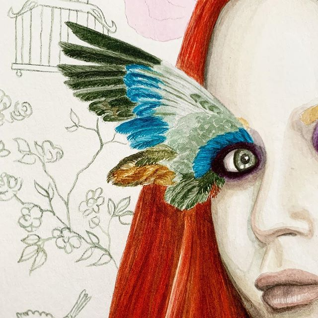 Detail of new work in progress. Check out my story to follow how she's coming along. 🖤  #stillirise #mayaangelou #butterflies #butterfly #illustrate #illustration #drawing #painting #draw #fashionillustrator #watercolorartist #watercolor #artjournal #creativeprocess #sketchbook #illustrator #artistsoninstagram #instaart #instaartist #illustratorsoninstagram #illustrationoftheday #creatives #art #bts #onmydesk #inthestudio #risingtidesociety #tnchustler