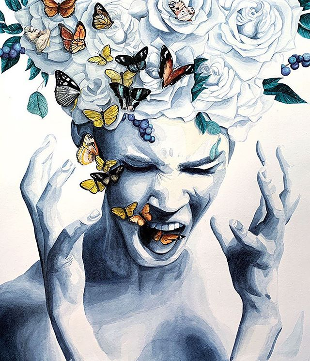 She's done. #illustratorsoninstagram #risingtidesociety #rosesaremyfavorite #greyroses #illustrator #letgo #anger #release #illustratorsofinstagram #artistsoninstagram #watercolor #watercolorportrait #watercolorpainting #art #art_spotlight #butterflies #changeisgood #fashionillustration #fashionillustrator #instagood #instart #communityovercompetition #makespace #letgoofwhatnolongerservesyou