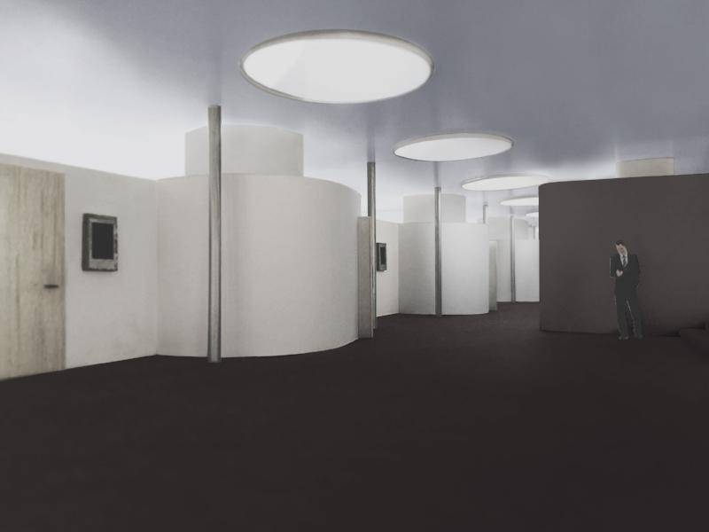 Innenraummodell des Flurbereiches der neuen Aufstockung