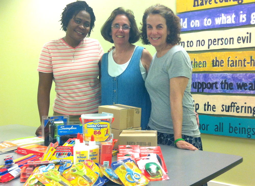 Teacher and Clover friend, Jane L. donating much needed supplies to the children of the Clover Foundation.