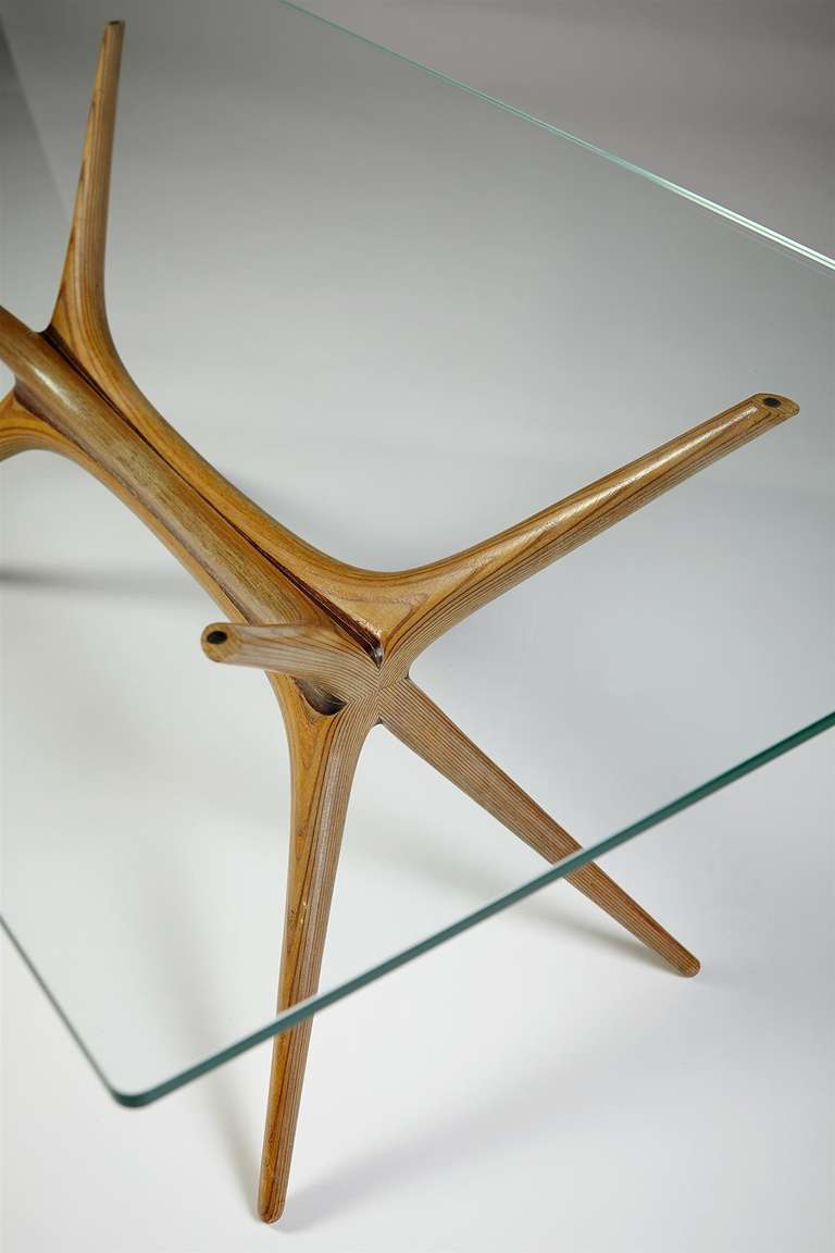 scandinaviancollectors :     Occasional table  X-Frame , designed by Tapio Wirkkala for Asko, Finland 1958. Aeroplane veneer frame and glass top. /   1stDibs