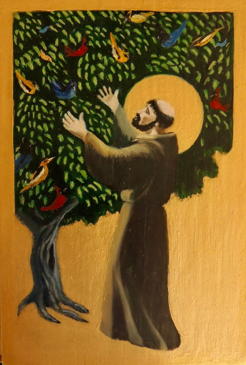 "St. Francis' Sermon to the Birds, 8 x 20"", oils on wood, $50"