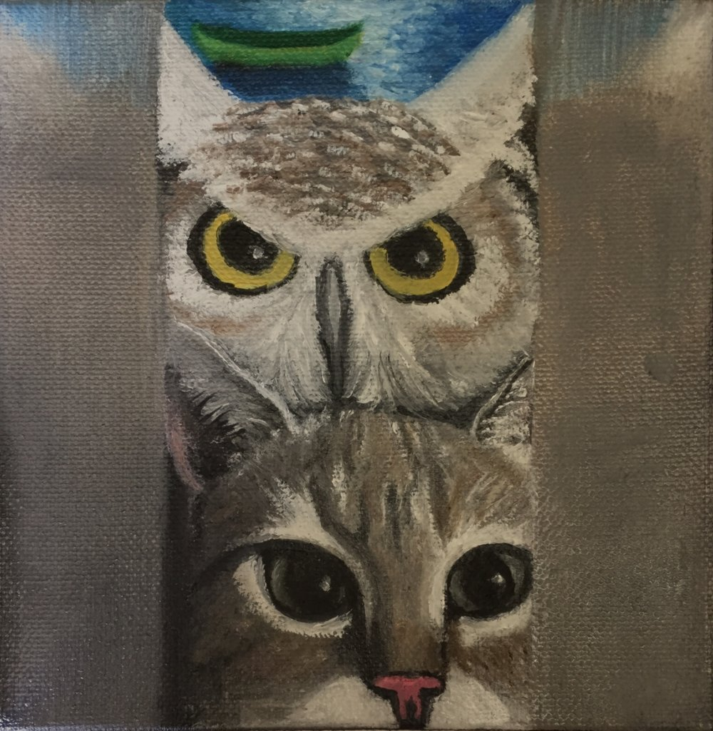"Owl and Pussycat Selfie, 6"" x 6"", oils on canvas, $75."