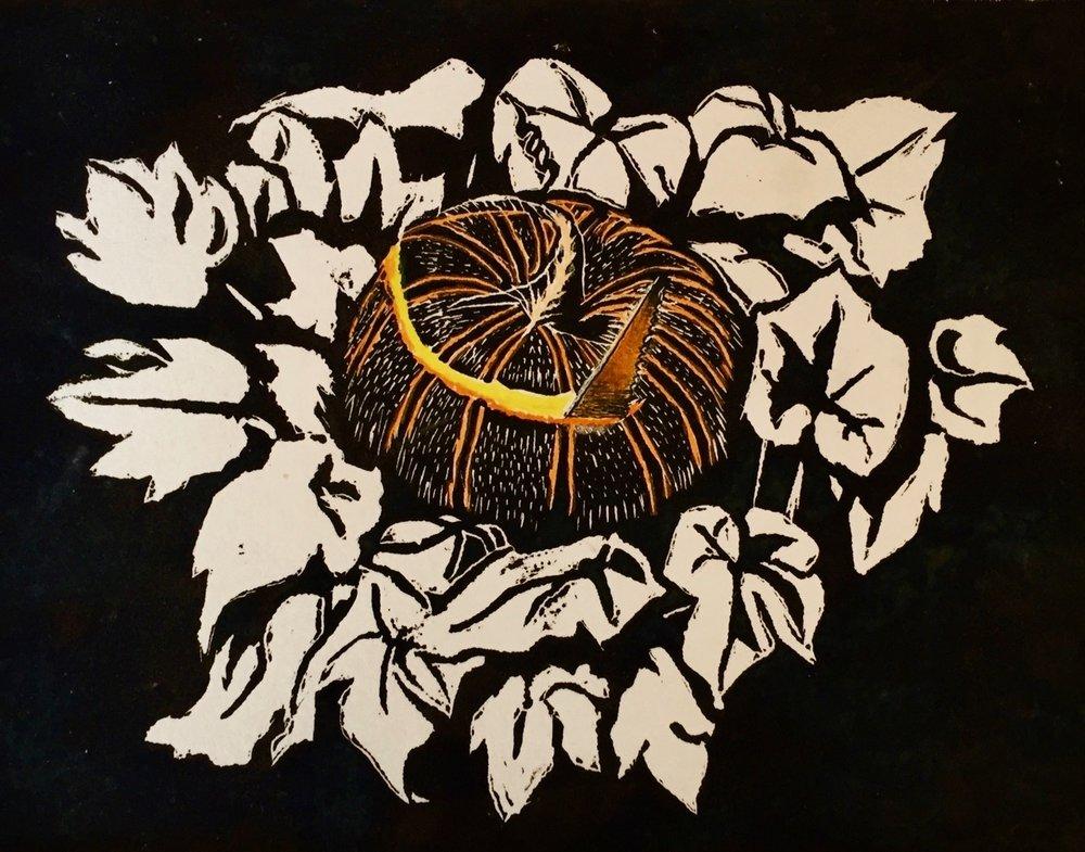 """Peter Pumpkin Eater's Wife,  8 x 10"""" linocut print  $99 matted unframed, $134 matted framed."""