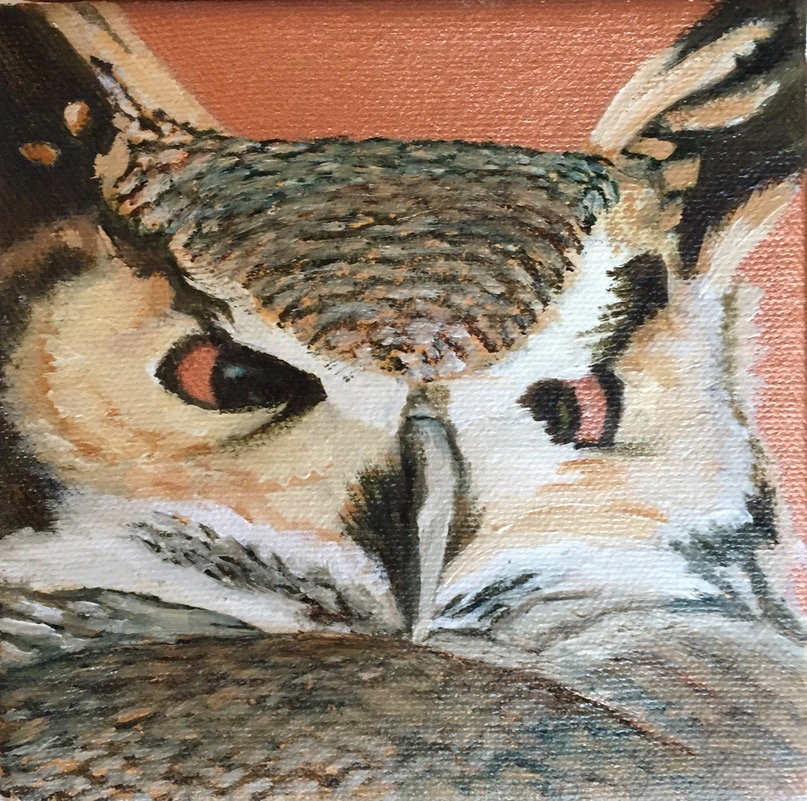 "Owl, oils on can as, 5"" x 5""."