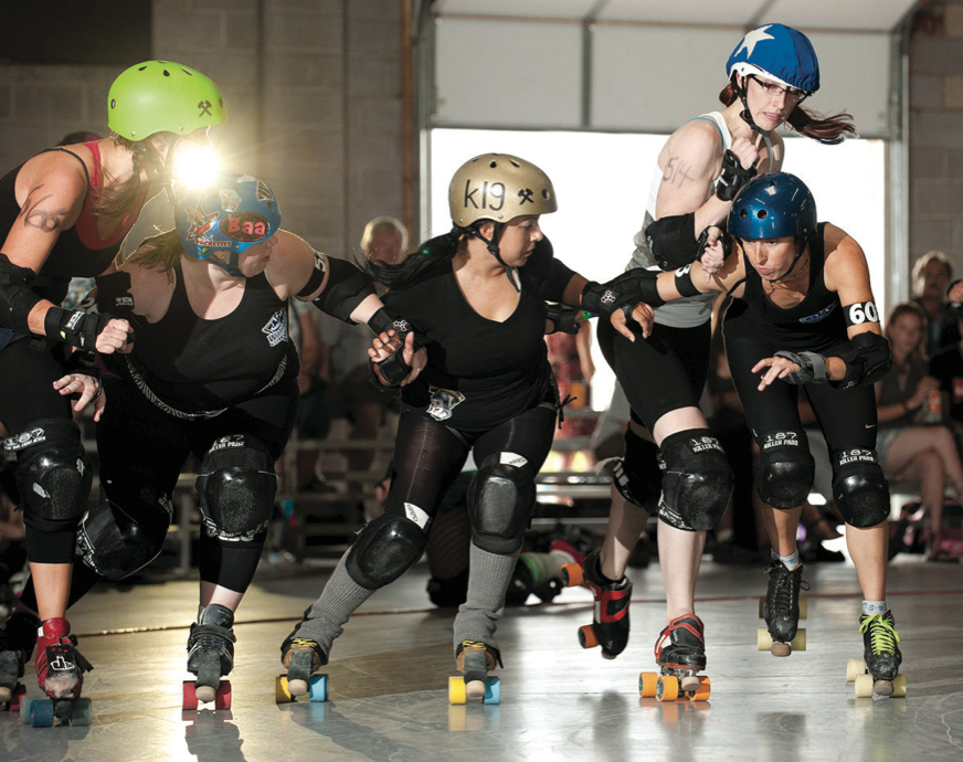 A roller derby jam in Utah.   Photo by Chris Bojanower, from Wikipedia