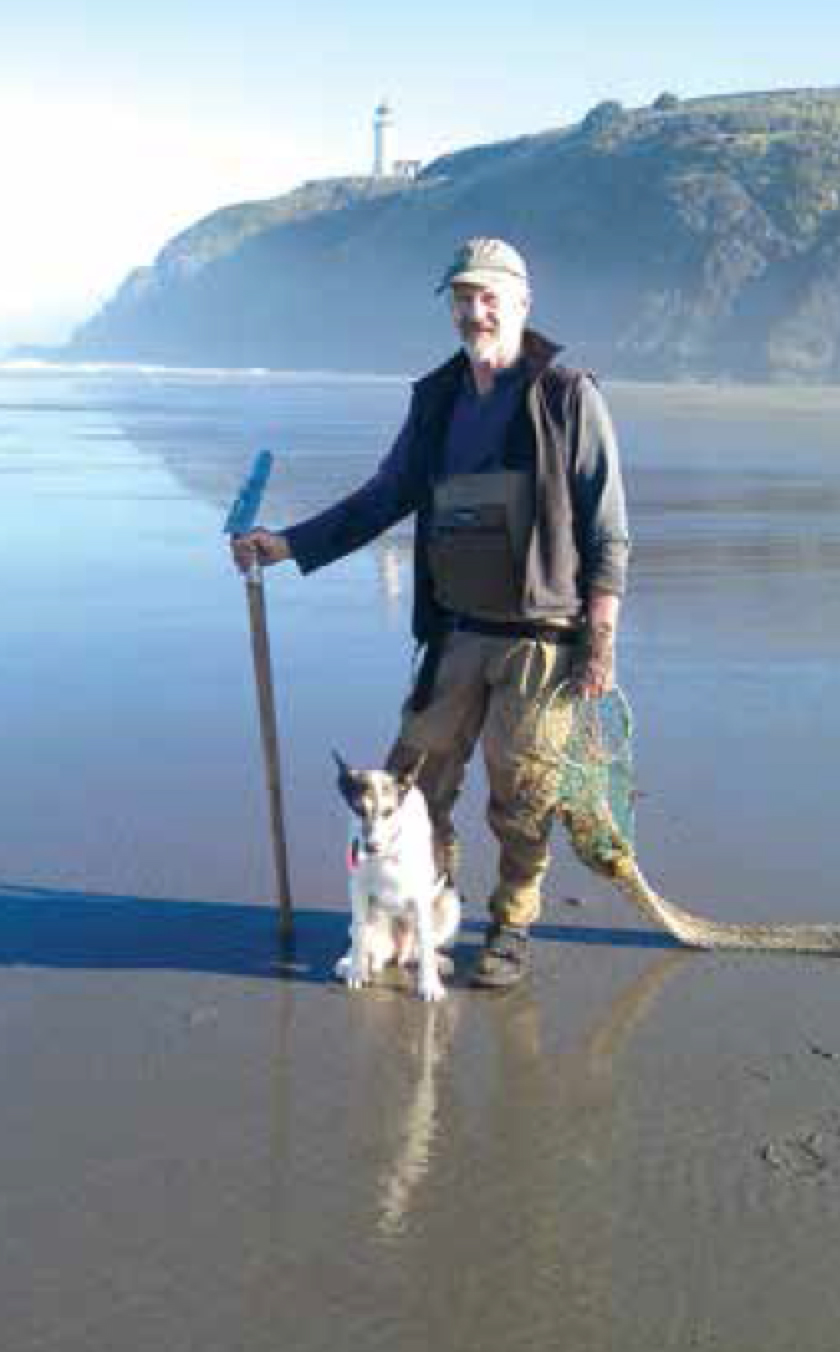 The author and Mac The Wonder Dog on a Washington beach.