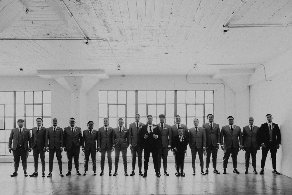 Gretchen Gause Photography | Los Angeles Hudson Loft Wedding #hudsonloft #laweddingphotographer #DTLA #weddingplanning #romanticwedding #rooftopwedding #weddingphotography #weddingdress #groomsmen