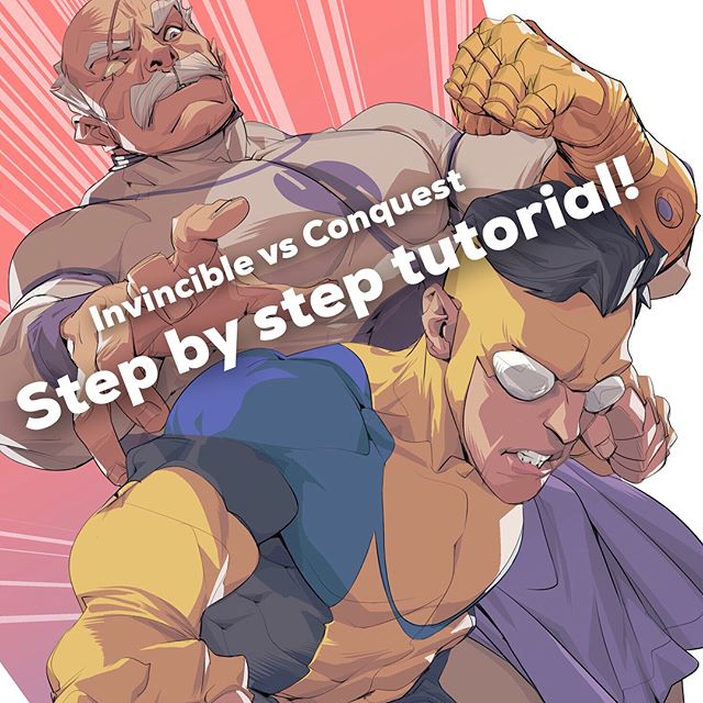 A tutorial on the Invincible piece I recently completed! Swipe to see the steps 🎨 I hope I can help some of you process geeks out there who are just curious or want advice with figure drawing 😊 Questions are welcome! . . . #art #artwork #illustration #drawing #digitalart #instaart #instaartist #sketch #arttutorial #arttutorials #howtodraw #comics #artofdrawing #artoftheday #artsy #invincible #conquest #ink #process #wip #characterdesign #oc #sneakpeek #drawingtutorial