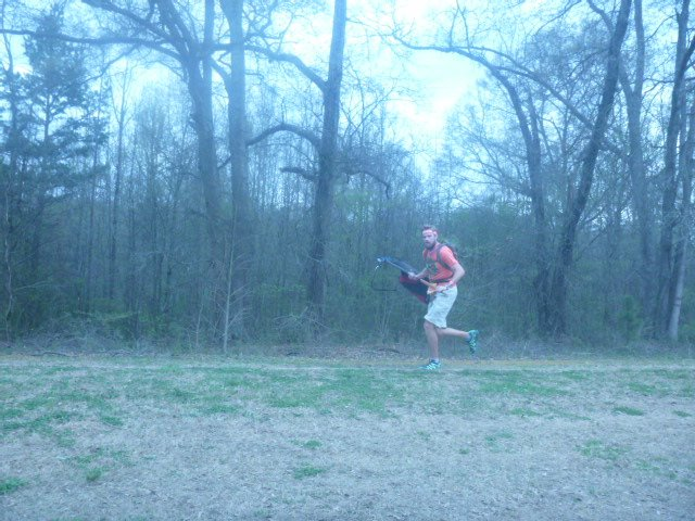 Running the Ragnar Relay with a weighted rucksack.