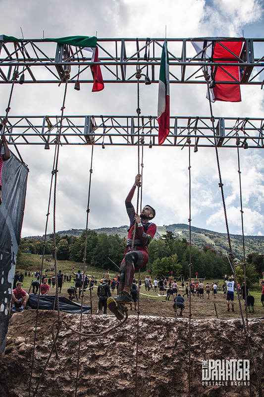 The Painted Warrior in the rope climb + spear throw area.  Photo courtesy of The Painted Warrior