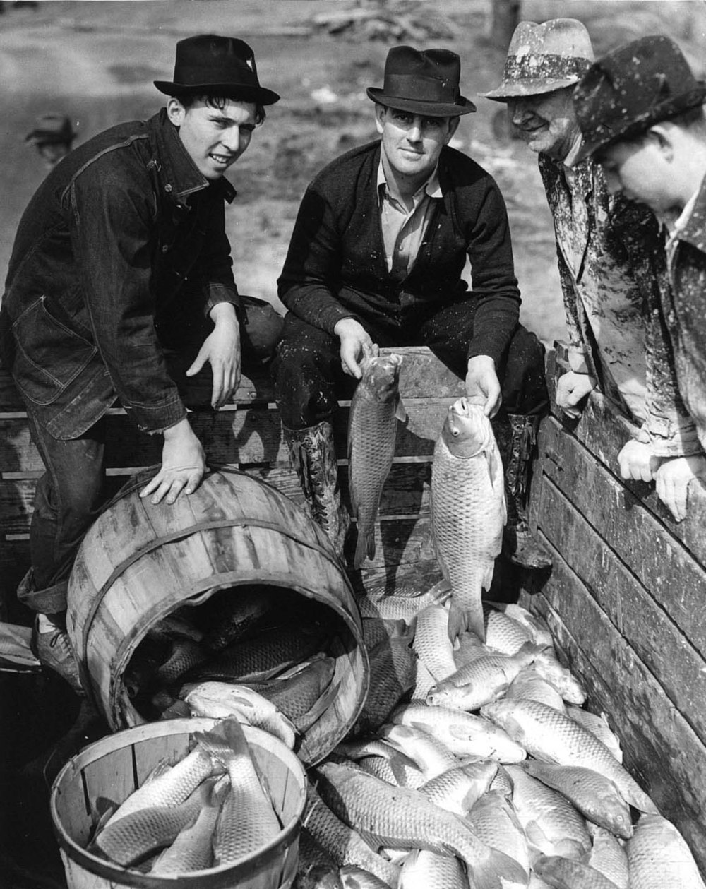 """J.W. Bush (second from left) and carp caught in land-locked flood waters of the Cumberland River in North Nashville, TN. 3/14/1939"""