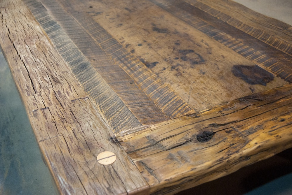 Antique Beam and Reclaimed Oak Countertop