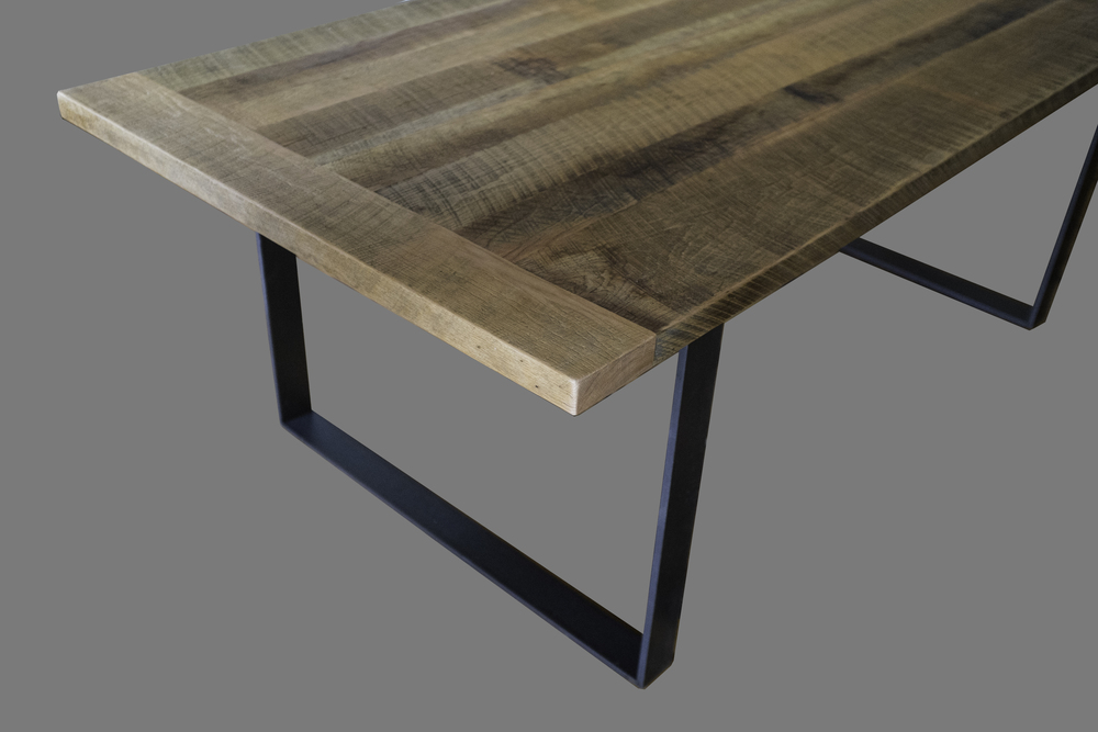 Reclaimed Oak Top Table with Metal Legs