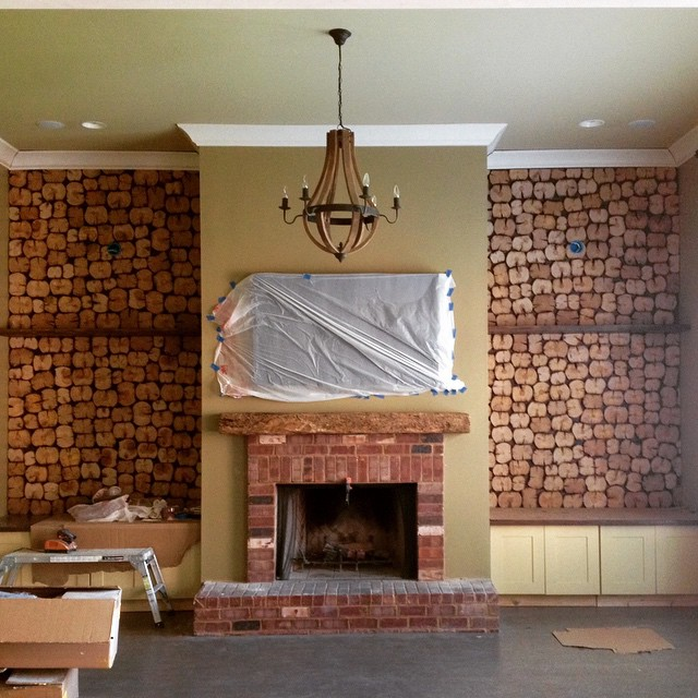 Reclaimed Wood Accent Wall and Mantel