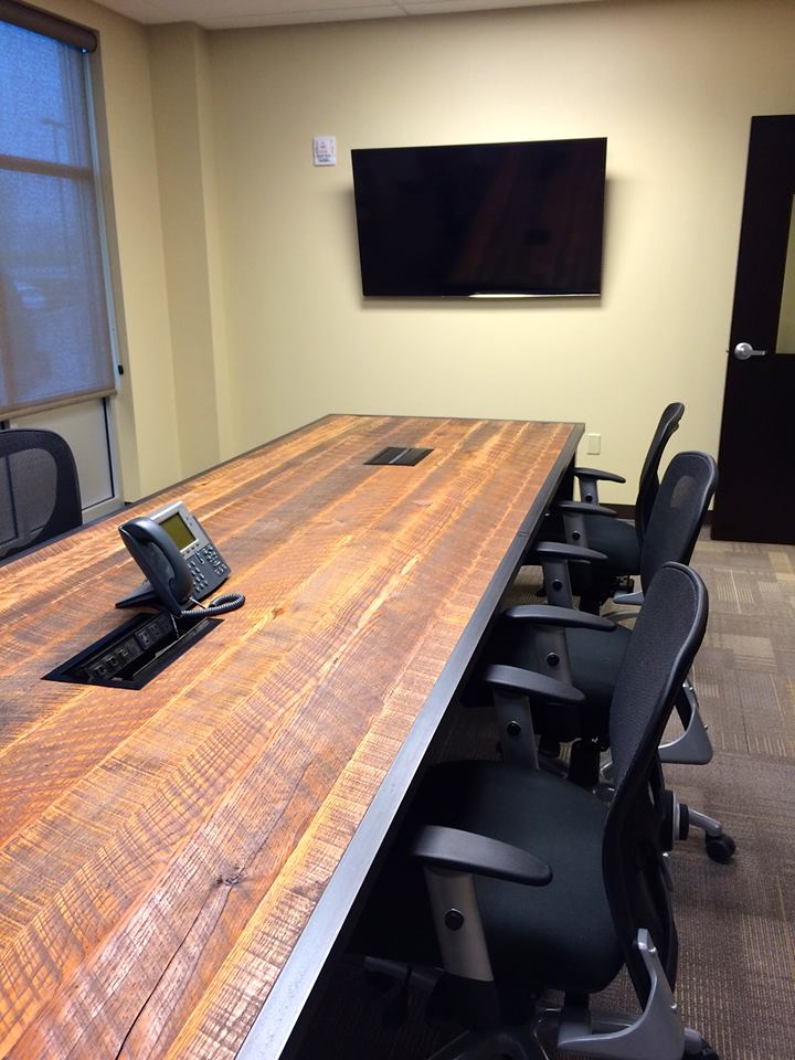 Reclaimed Wood Conference Table with a Data Port