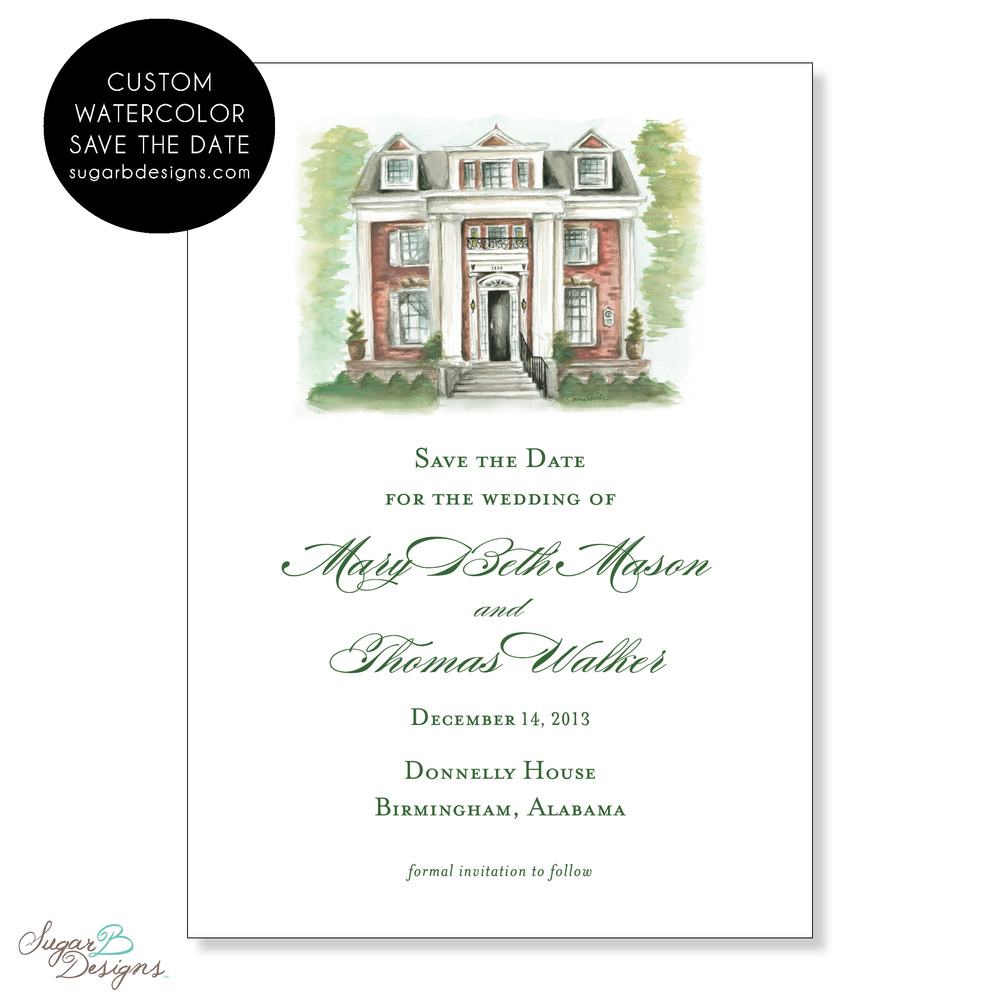 Mary Beth and Thomas were getting married at a historic home.  They contacted me (carriebeth@sugarbdesigns.com) to paint the building for their Save the Date.  The image was easily transferred to additional items such as their wedding program, stickers, gift bag tags and thank you notes.  In addition, the original 8 x 10 watercolor painting is perfect for a keepsake to matte and frame in your home!