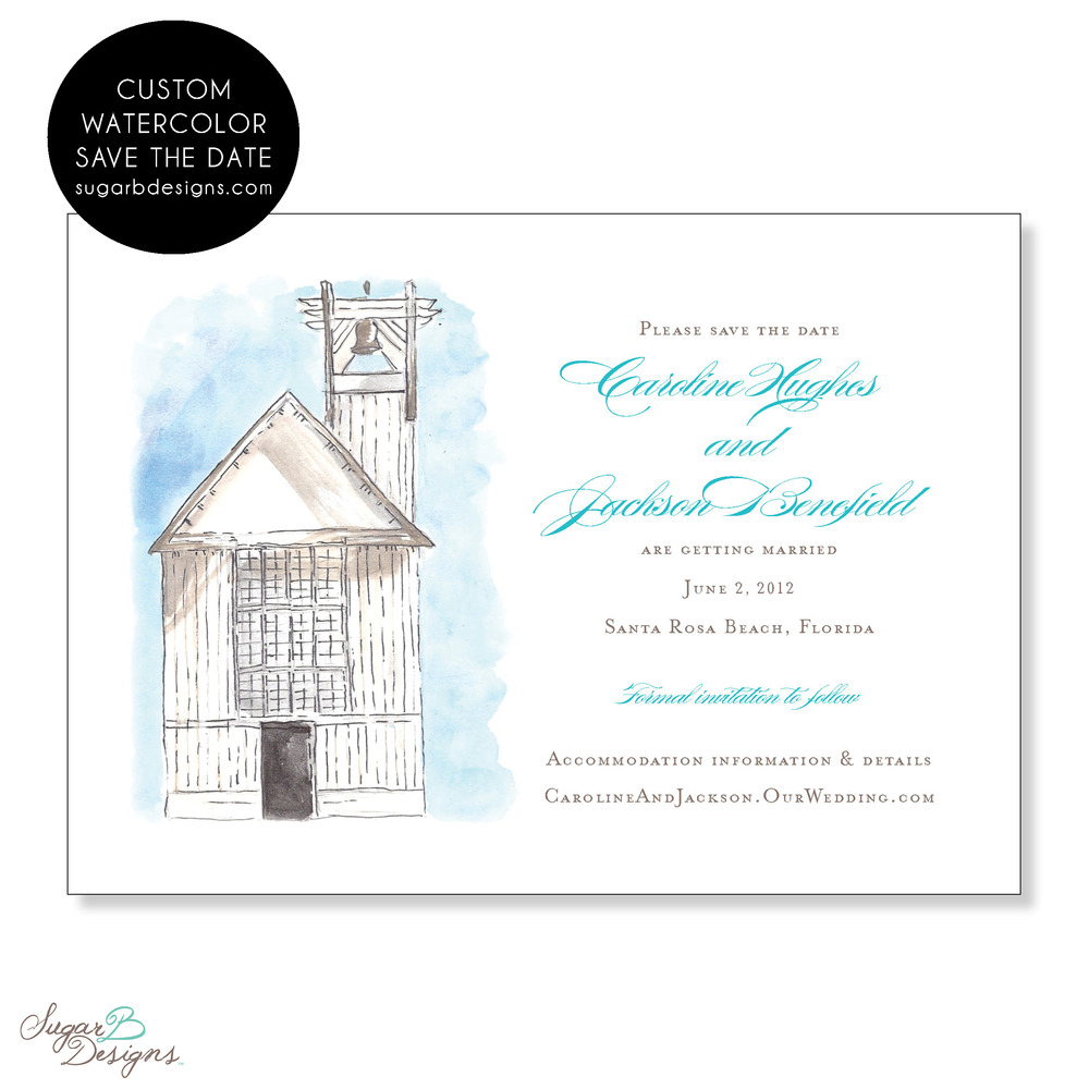 Caroline and Jackson were getting married in a chapel at the beach.  They contacted me (carriebeth@sugarbdesigns.com) to paint the building for their Save the Date.  The image was easily transferred to additional items such as their wedding program, stickers, gift bag tags and thank you notes. In addition, the original 8 x 10 watercolor painting is perfect for a keepsake to matte and frame in your home!