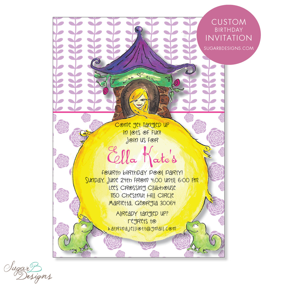When Ella Kate's mom contacted me, she sent over inspiration for their 'Rapunzel' themed birthday party. We were able to collaborate and create this adorable invitation incorporating my watercolor artwork. The art easily transferred to stationery, stickers, gift bag tags, calling cards and more!