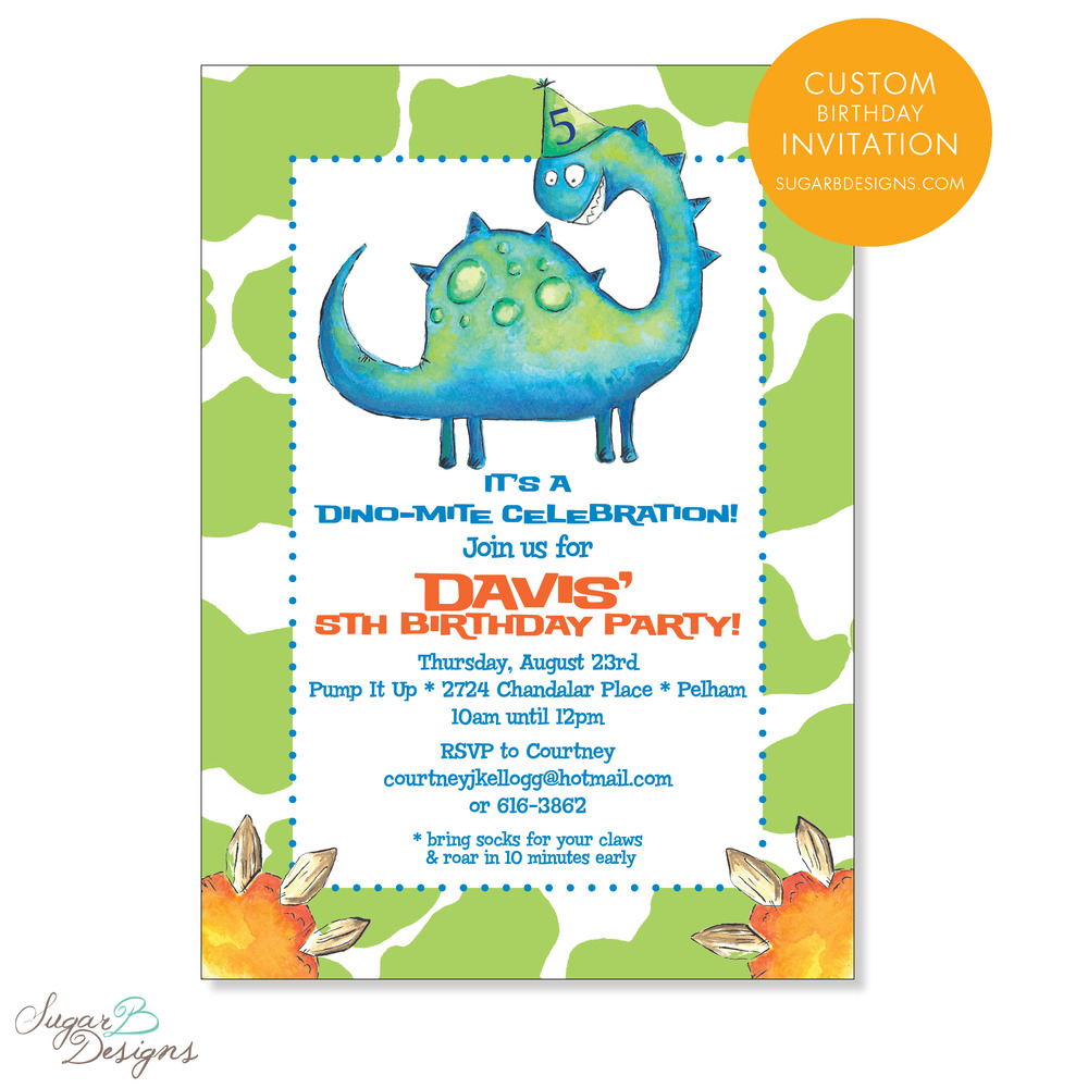 When Courtney contacted me, she sent over inspiration for their 'Dino Davis' themed birthday party. We were able to collaborate and create this adorable invitation incorporating my watercolor artwork. The art easily transferred to stationery, stickers, gift bag tags, calling cards and more! The original artwork is perfect to matte and frame for a keepsake.