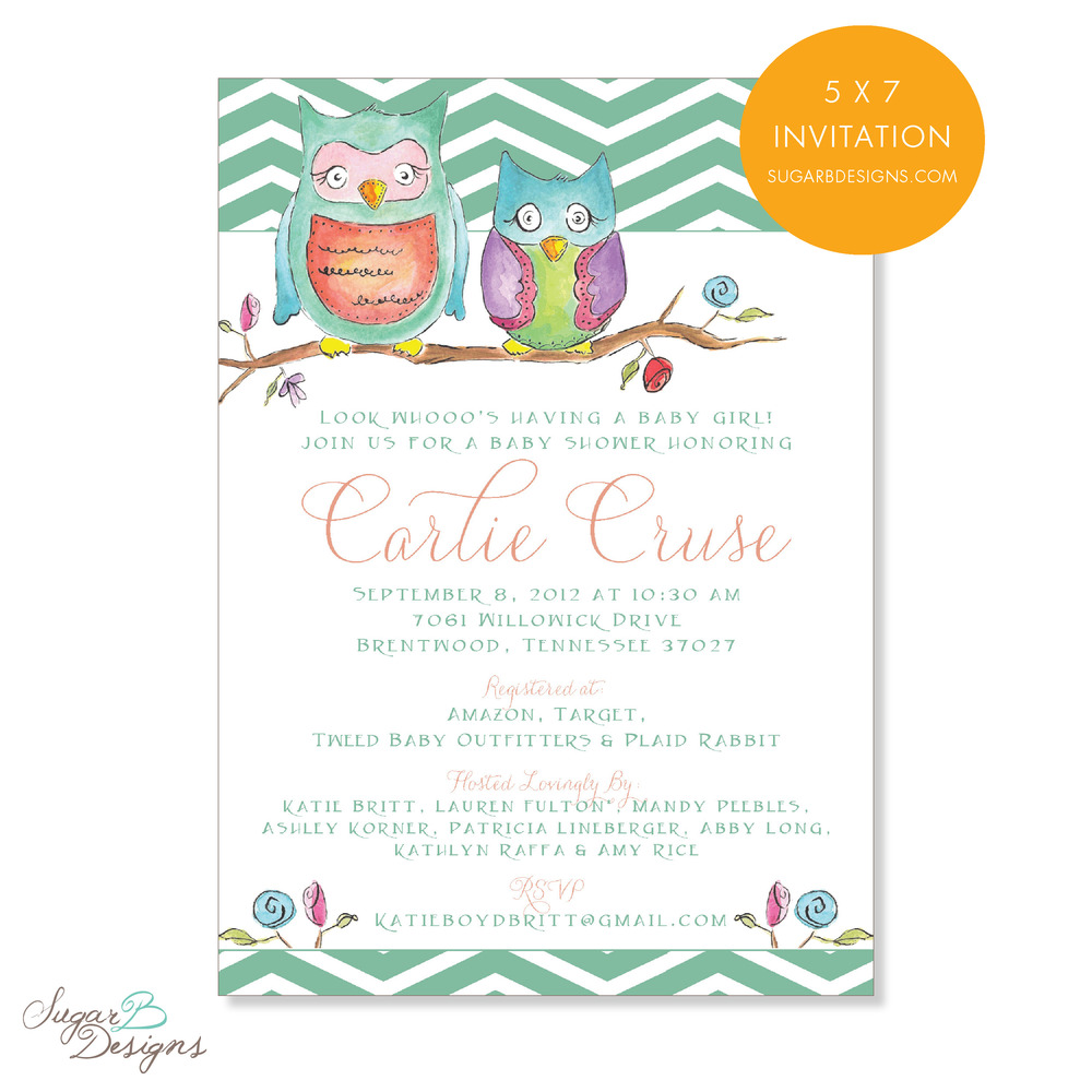 When the ladies hosting Carlie's shower contacted me, they sent over the baby bedding as inspiration for their baby shower invitation. We were able to collaborate and create this adorable invitation incorporating my watercolor artwork. The art easily transferred to stationery, stickers, gift bag tags, calling cards and more! The original art is a perfect keepsake for to matte and frame for the baby room as a hostess gift!