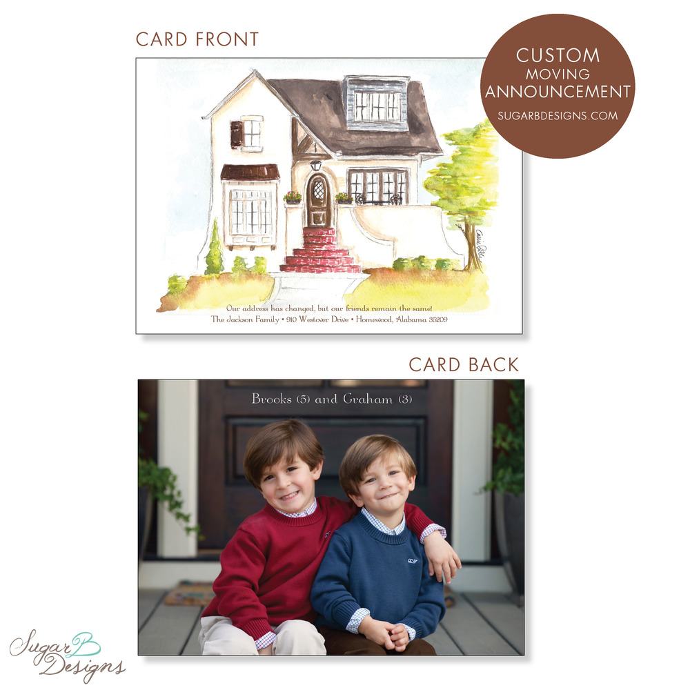 When the Jackson's moved, we worked together to create a painting of their new home for the moving announcement. In addition, we used the back of the card as a photo of their handsome boys! The original 8 x 10 watercolor is the perfect piece of artwork for the new home.