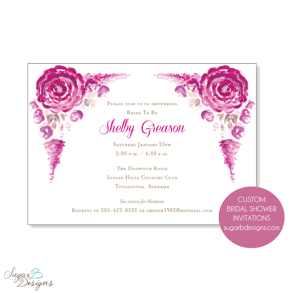 When Crissi contacted me about Shelby's bridal shower, she wanted it to reflect the bride's color theme.  In doing so, we collaborated on an artful invitation that the bride loves!  This artwork was easily transferred to stationery, calling cards, stickers, gift bag tags and more!