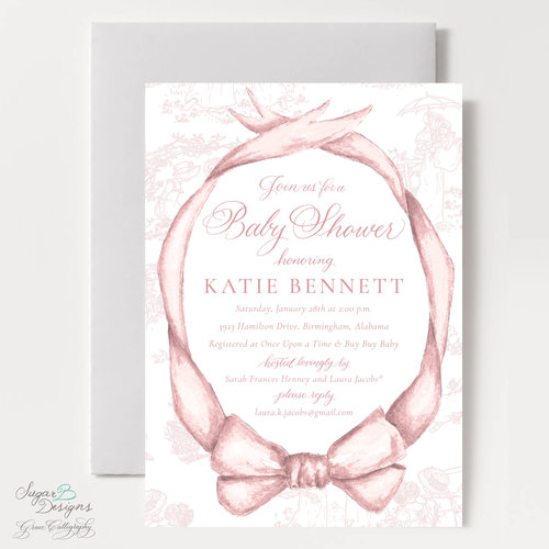 Sugar b designs pink beatrix bow baby shower invitation filmwisefo