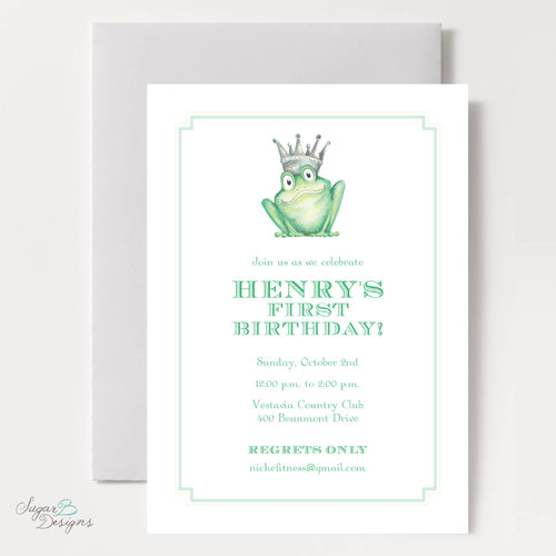 Sugar b designs frog prince birthday invitation filmwisefo